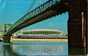 Ohio OH Cincinnati River Front Stadium Suspension Bridge Postcard Old Vintage PC