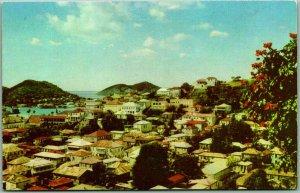 Vintage Charlotte Amalie, U.S. VIRGIN ISLANDS Postcard Panorama City View c1950s