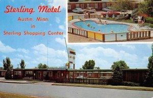 STERLING MOTEL Austin, Minnesota Roadside Swimming Pool c1960s Vintage Postcard