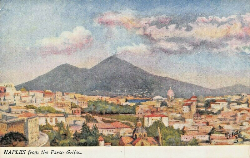 NAPLES~FROM THE PARCO GRIFEO~TUCK WORLD WIDE SERIES OILETTE POSTCARD