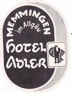 GERMANY MEMMINGEN HOTEL ADLER VINTAGE LUGGAGE LABEL