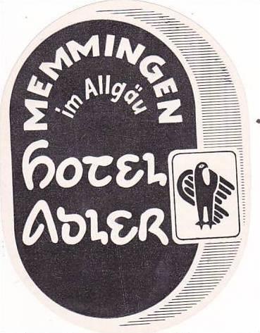 GERMANY MEMMINGEN HOTEL ADLER VINTAGE LUGGAGE LABEL