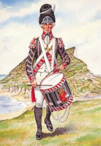 Military Art Postcard Drummer, The 50th West Kent Regiment of Foot 1792 #32-3