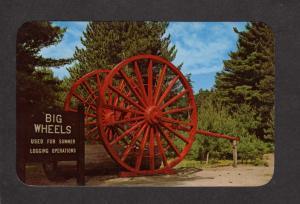 MI Big Logging Wheels Lumberman Lumbering MICHIGAN Postcard