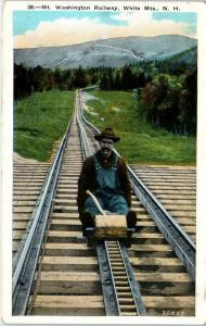 WHITE MOUNTAINS, NH  MT WASHINGTON  INCLINE RAILWAY  1937 Postcard