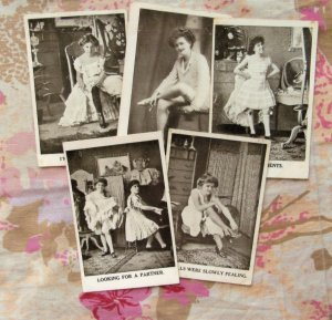 Five Postcards Fun-Loving Women Humorous RPPC Antique Naughty Young Actresses