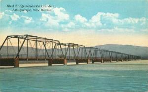 Albuquerque New Mexico Steel Bridge Rio Grande C-1915 Postcard 3752