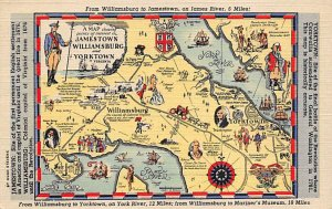 Maps Williamsburg to Yorktown Virginia, USA Unused