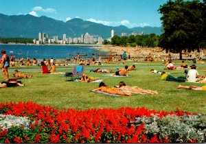 Canada Vancouver Kitsiland Beach and English Bay Skyline