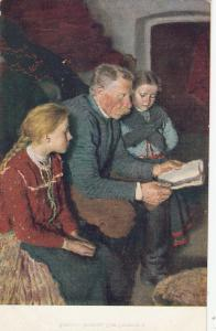 Hungarian types grandfather with grandchildren by Glatz early art postcard