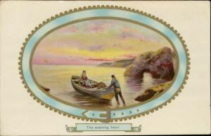 The evening hour boat sunset rural scene country side embossed