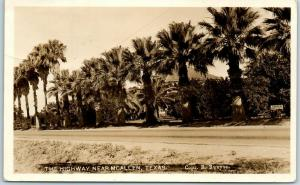 McAllen, Texas RPPC Postcard The Highway Palm Trees Runyon Photo 1925 Cancel