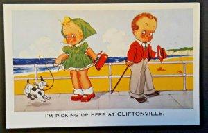 Mint Vintage Cliftonville England Children Meeting At Beach Comic Postcard