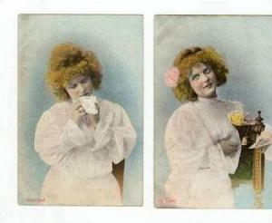 2 postcards,  In Love  &  Married , 00-10s
