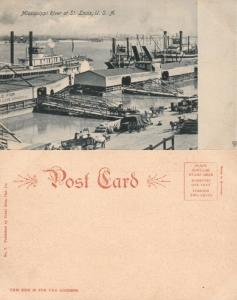 MISSISSIPPI RIVER AT ST.LOUIS MO UNDIVIDED ANTIQUE POSTCARD