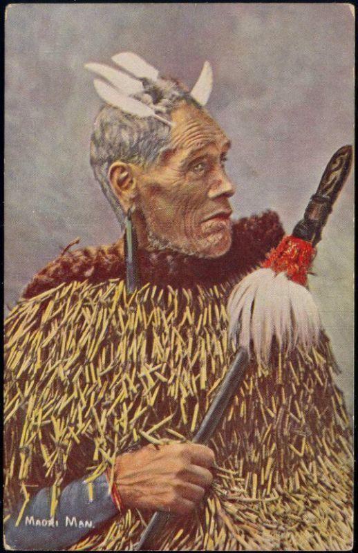 new zealand, Native MAORI Warrior (1910s) Facial Tattoo