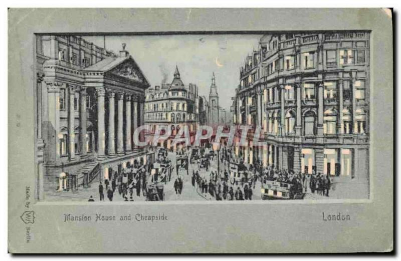 CPA Carte transparente London Londres Mansin House and Cheapside