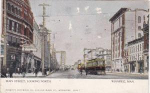 Canada Winnipeg Trolley On Main Street Looking North