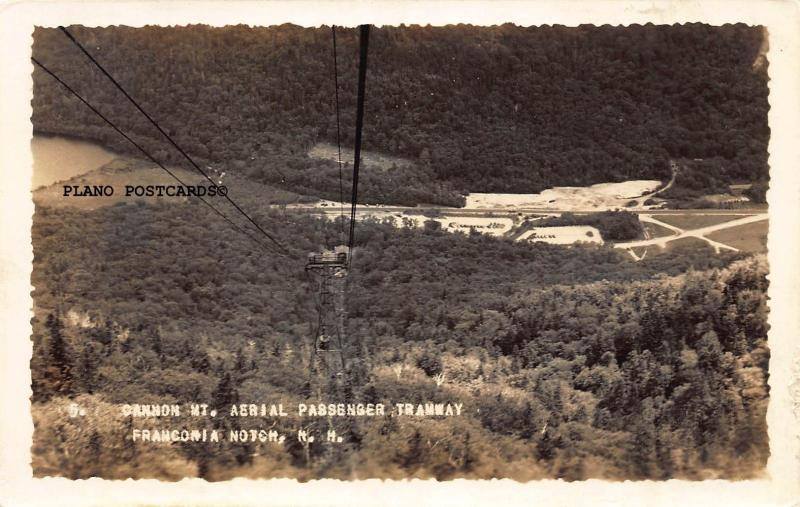 NEW HAMPSHIRE CANNON MT. AERIAL PASSENGER TRAMWAY RPPC REAL PHOTO POSTCARD