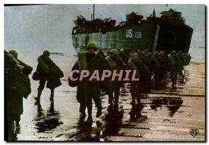 Postcard Modern Army Unloading in Normandy refueling Allies is landed in the ...