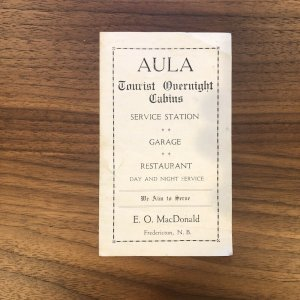 RARE - FREDERICTON, N.B. - AULA TOURIST Cabins - Canada Service Station Brochure