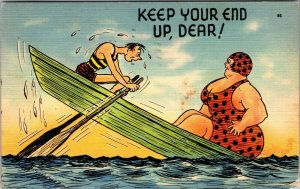 VINTAGE POSTCARD BIG BOTTOMS COMIC KEEP YOUR END UP DEAR!   POSTED