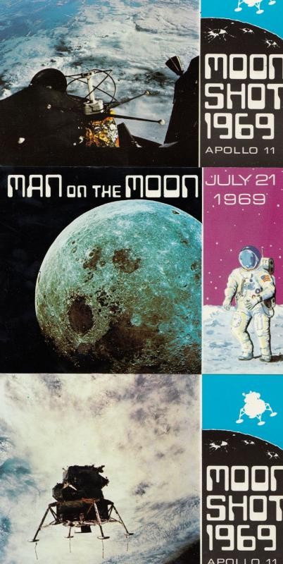 Moon Shot 1969 Man On The Apollo 11 THREE Postcard s