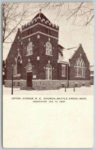 Battle Creek MI~Upton Avenue Methodist Episcopal ME Church~Snowy Day~c1908