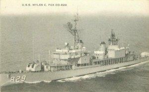 Battleship 1960s USS Myles C. Fox DD-829 Navy Military Postcard 20-8138