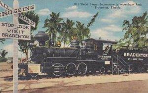 Florida Bradenton Old Wood Burner Locomotive In Waterfront Park