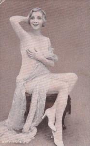 Nude Risque Topless Vintage Arcade Card Beautiful Gilr Posing Topless