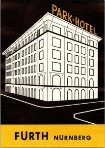 Germany Nuernberg Park Hotel Fuerth Vintage Luggage Label sk4780