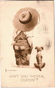 Boy Overalls Straw Hat Dog Bernhardt Wall Ain't You Comin? Vintage Postcard M23