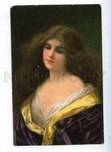 189682 Lady LONG HAIR by Angelo ASTI vintage TSN #600 color PC