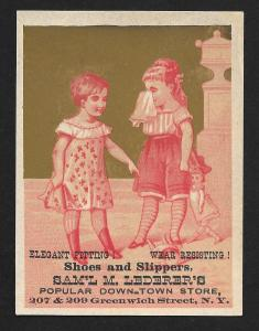 VICTORIAN TRADE CARD Lederers Shoes & Slippers Red Tint Two Girls & Doll