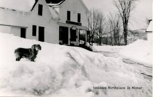 VT - Plymouth. President Calvin Coolidge Birthplace in Winter.   *RPPC