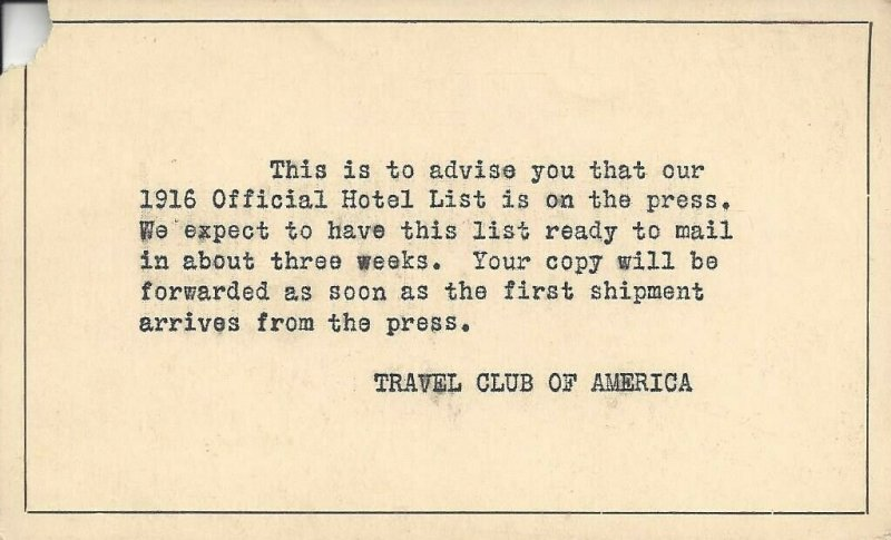 1916 Travel Club of America Official Hotel List Notification Card