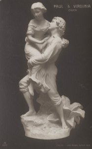 Cauer Paul & Virginia Statue French Sculpture Old Postcard