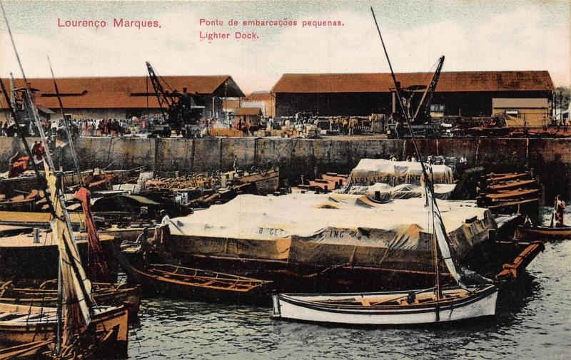 Mozambique Maputo Lourenco Marques Dock boats Africa Postcard