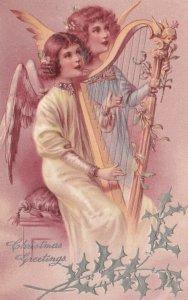 AS: CHRISTMAS, 1900-10s; Cherubs singing & playing harp, PFB 6372 #2