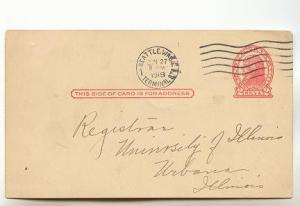 US Postal Stationery Postcard Jefferson, 2Cent Red, Seattle Washington, Unive...