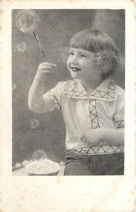 Real Dutch Girl Catches Big Bubble on Stick~Real Copper Deep Print~No Reprints