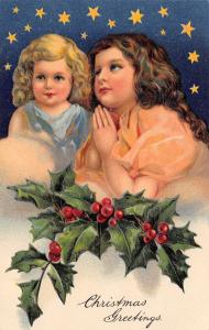 PFB Christmas~Blued Eyed Little Girls in Clouds~Blue Night Stars~Embossed~#8060