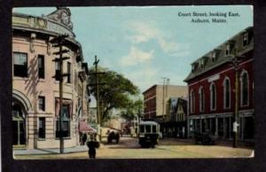 ME Court Street AUBURN MAINE Postcard PC Trolley Car
