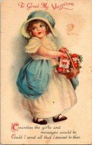 VTG Postcard Valentine Greetings Bonnet Victorian Girl Basket Unposted 1202