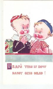 Comic babies. Fraps this is how daddy gets oiled Humorous vintage English PC