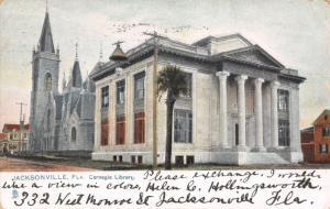 Jacksonville Florida~Carnegie Library~Church~1906 Postcard~TUCK