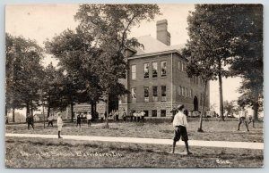 Belvidere IL~Perry Street School~Boys Playing~Girls by Door~c1910 RPPC CR Childs