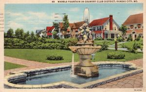 Marble Fountain In Country Club District, Kansas City, MO Linen Vtg Postcard
