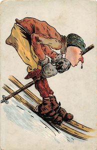 G19/ Interesting Postcard Foreign Comic Skiing Skier Snot Nose Downhill